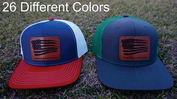 American Flag Leather Patch Hats in 26 Different Colors. Southern Sportsman's Apparel