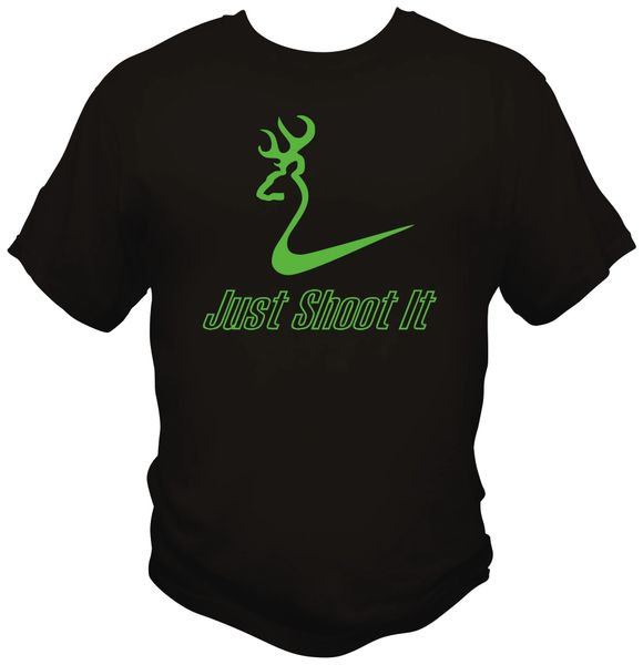 Just Shoot It Mens Short Sleeve T-Shirt, Black with Lime Green Print