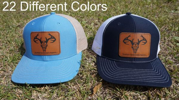 Deer Skull Leather Patch Hats in 22 Different Colors. Southern Sportsman's Apparel