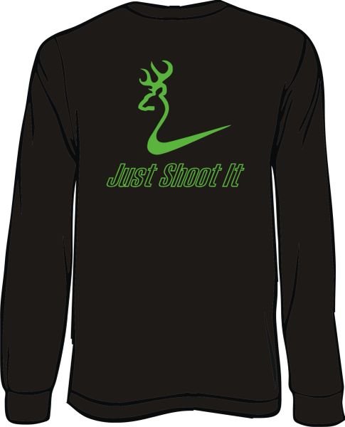 Just Shoot It Mens Long Sleeve T-Shirt, Black with Lime Green Print