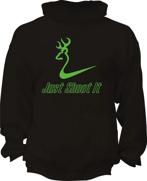 Just Shoot It Mens Hoodie, Black with Lime Green Print