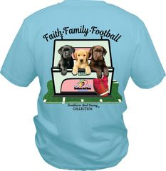 Faith Family Football ( Three Lab Puppies ) on Mint Short Sleeve, Long Sleeve, & Hoodies