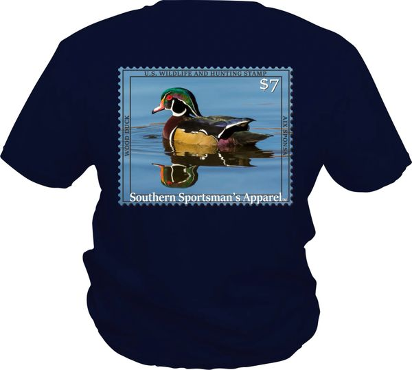 Youth Wood Duck Reflection Stamp On Navy Short Sleeve Shirts And Long Sleeve Shirts