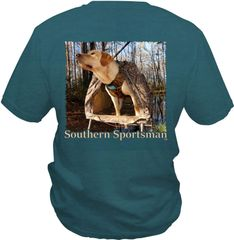 Yellow Labrador Retriever In Blind with Vest on our Custom Forest Green Pigment Dyed Color. Short & Long Sleeve Shirts, and Hoodies Available.