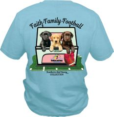 Faith Family Football ( Three Lab Puppies ) on Mint Short Sleeve, Long Sleeve, & Hoodies