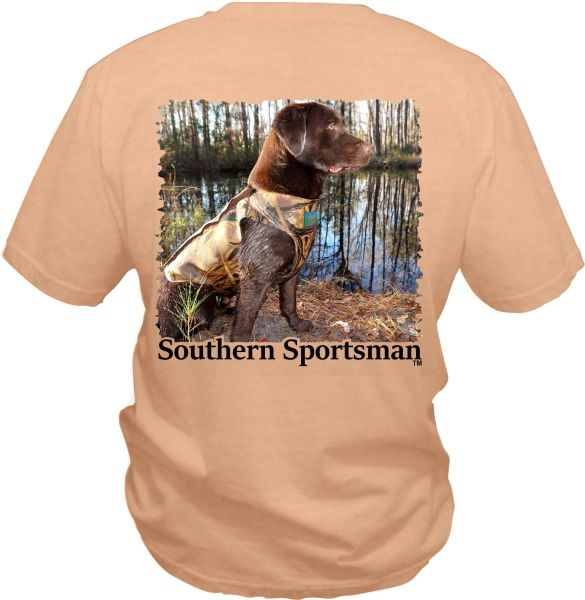 Brown Labrador Retriever In Hunting Vest on our Custom Orange Pigment Dyed Color. Short & Long Sleeve Shirts, and Hoodies Available.