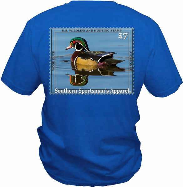 Wood Duck Reflection Stamp On Our Custom Blue Short Sleeve Shirts, Long Sleeve Shirts, and Hoodies