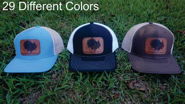 Turkey Leather Patch Hats in 29 Different Colors. Southern Sportsman's Apparel