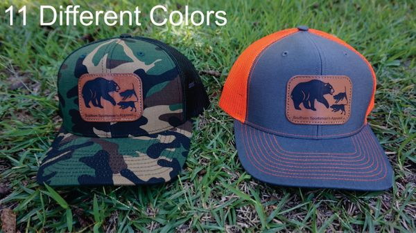 Bear Hunt Leather Patch Hats in 11 Different Colors. Southern Sportsman's Apparel