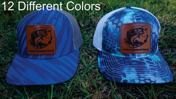 Bass Fishing Leather Patch Hats in 12 Different Colors. Southern Sportsman's Apparel