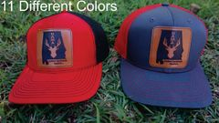 Alabama State Logo With Deer Leather Patch Hats in 11 Different Colors. Southern Sportsman's Apparel