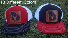 Georgia State Logo With Deer Leather Patch Hats in 13 Different Colors. Southern Sportsman's Apparel