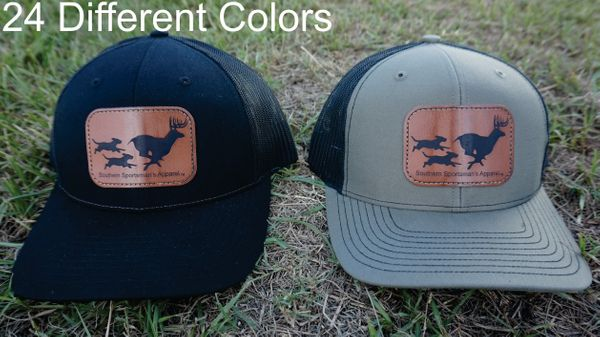 Deer Run Leather Patch Hats in 24 Different Colors. Southern Sportsman's Apparel