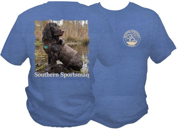 Boykin Swamp Short & Long Sleeves Neon Blue & China Blue Boykin Spaniel In Hunting Vest