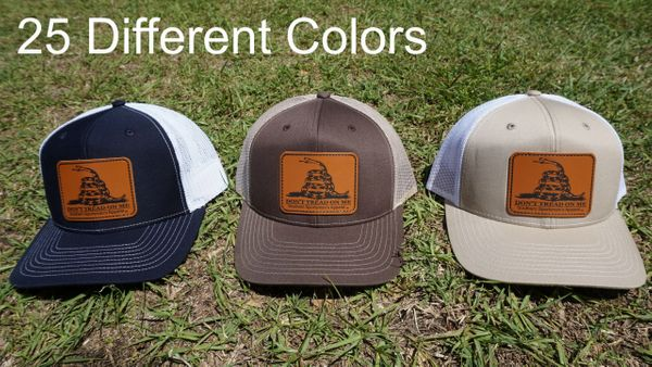 Don't Tread On Me Leather Patch Hats (The Gadsden flag) 25 Different Colors