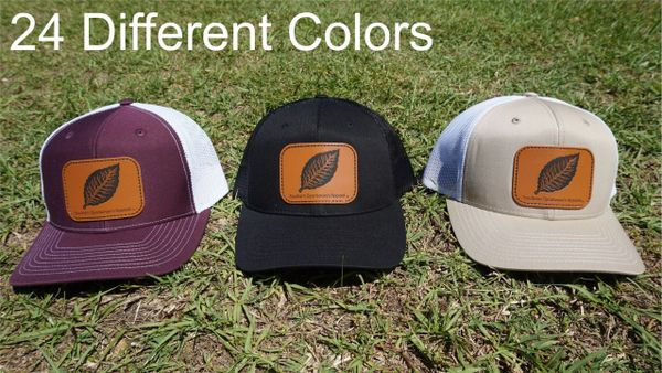 Tobacco Leaf Leather Patch Hats in 24 Different Colors