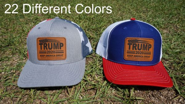 Trump Leather Patch Hats in 22 Different Colors