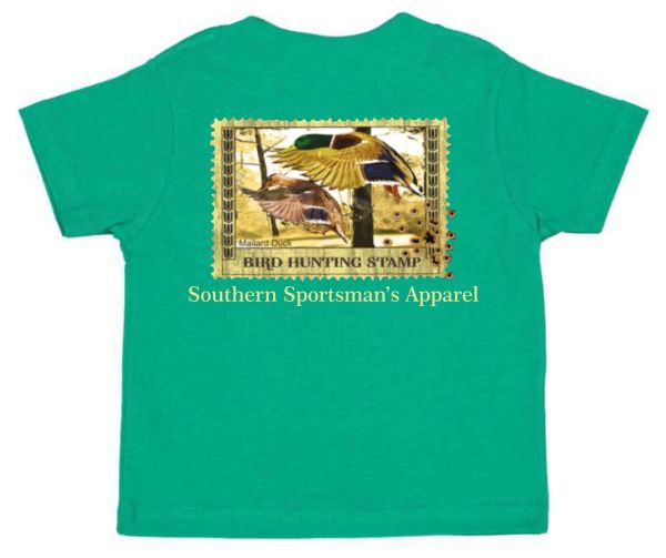 Mallard Stamp - Kelly Green Youth short sleeve & long sleeve t shirt