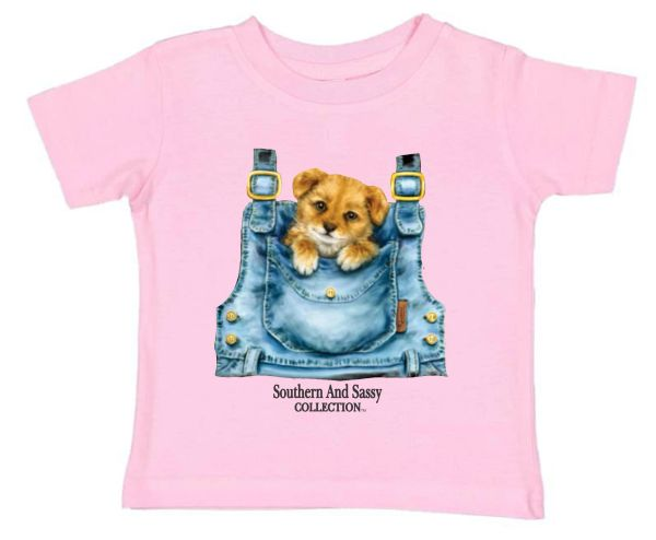 Pocket Puppy ( Toddler and Infant ) Pink T Shirts - Southern And Sassy Collection