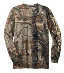 One Shot Kill Realtree camo Long Sleeve T-Shirt with Khaki, Lime Green, or Orange Print