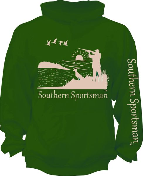 Southern Sportsman Duck Hunting Hoodie Green with Khaki Print