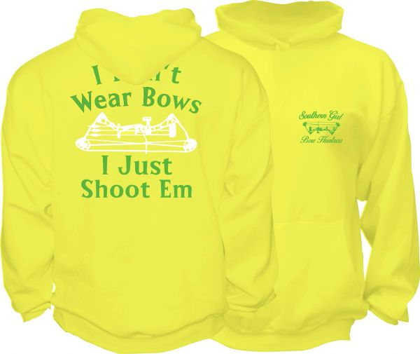 I Dont Wear Bows I Just Shoot Em Hoodie, Daffodil with Lime Green and White Print