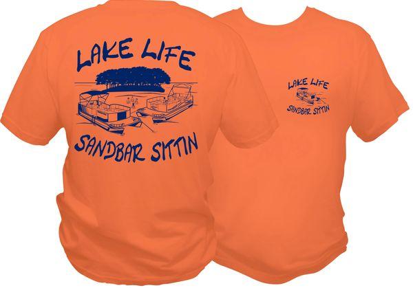 Lake Life Sandbar Sittin Short Sleeve T-shirt, Coral with Blue Print