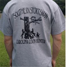 Carolina Coon Hunter 2 Short Sleeve t shirt, Sport Grey with Black Print
