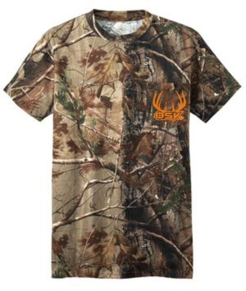 One Shot Kill Realtree Camo Short Sleeve T-Shirt with Orange, Lime Green, Or Khaki Print
