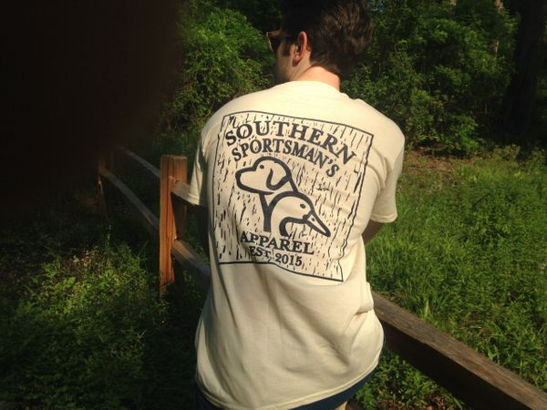 Duck / Dog Rustic Logo Sign Natural Short Sleeve T - Southern Sportsman's Apparel
