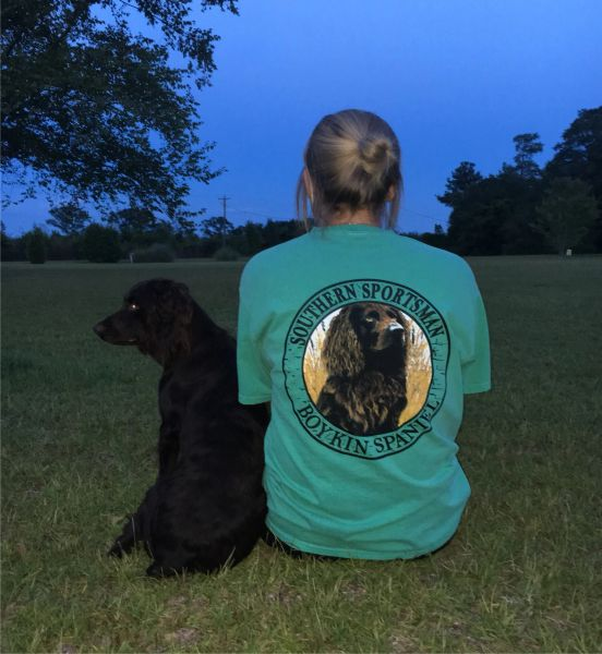 Boykin Spaniel Grass Custom Dyed Short Sleeve T Shirts