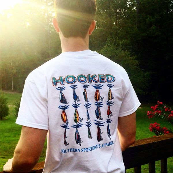 ' Hooked ' Fishing Lures Design White Short Sleeve T Shirt