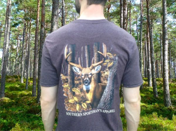 Woodlands Buck Heather Chocolate Short Sleeve T Shirt