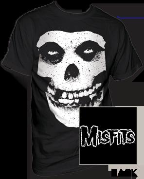 The Misfits Skull and Logo Black Short Sleeve Adult T-shirt