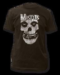 The Misfits Distressed Skull Black Short Sleeve Adult T-shirt