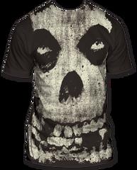 The Misfits All-Over Misfits Skull Black Sublimation Print Short Sleeve Adult T-shirt