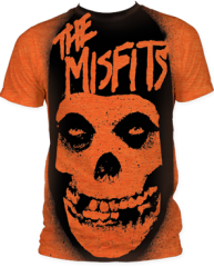 The Misfits Stencil Heather Orange Sublimation Print Short Sleeve Adult T-shirt