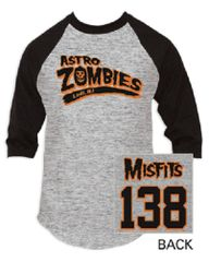 The Misfits Astro Zombies Athletic Heather Black Baseball Jersey T-shirt