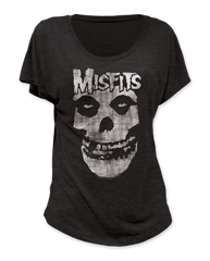 The Misfits Distressed Skull Black Short Sleeve Women's T-shirt