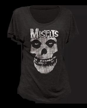 The Misfits Distressed Skull Black Short Sleeve Women's T-shirt