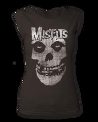 The Misfits Distressed Skull Black Women's Sleeveless T-shirt