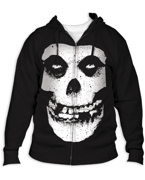 The Misfits Fiend Skull Black Adult Zipper Hoodie