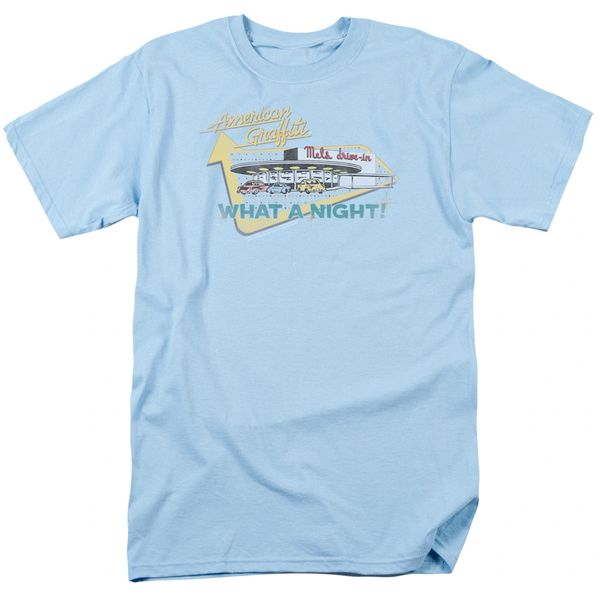 American Graffiti Mel's Drive-In Light Blue Short Sleeve Adult T-shirt