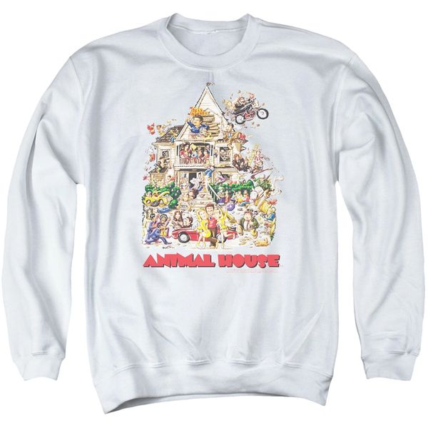 Animal House Poster Art Crew Neck White Adult Sweatshirt