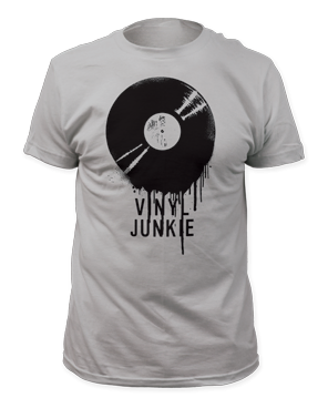 Vinyl Junkie Silver Short Sleeve Adult T-shirt