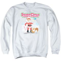 Christmas Santa Claus is Coming to Town Animal Friends Crew Neck Sweatshirt