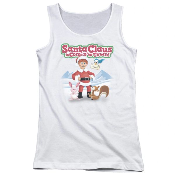 Christmas Santa Claus is Coming to Town Animal Friends Junior Tank Top T-shirt