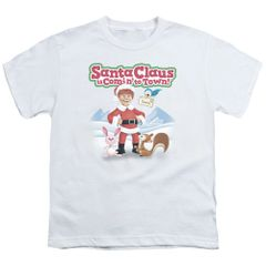 Christmas Santa Claus is Coming to Town Animal Friends Youth T-shirt