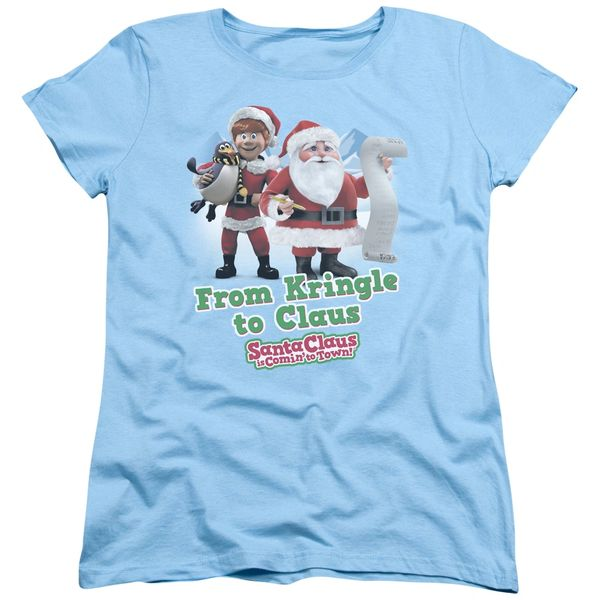 Christmas Santa Claus is Coming to Town Kringle to Claus Womens T-shirt