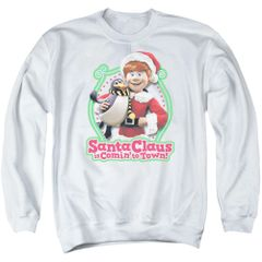 Christmas Santa Claus is Coming to Town Penguin Crew Neck Sweatshirt